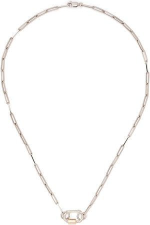 AS29 18kt white and rose gold small pave diamond lock necklace