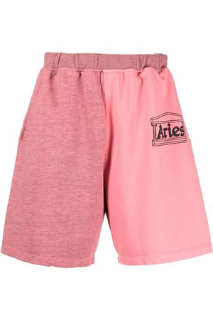 Aries Colourblocked logo-print sweat shorts