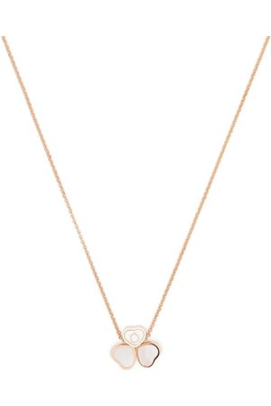 Chopard 18kt rose gold Happy Hearts Wings diamond and mother-of-pearl pendant necklace