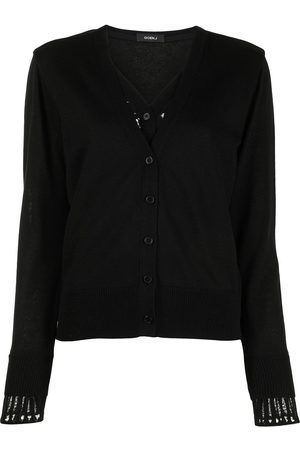 GOEN.J Women Cardigans - Lace-panelled V-neck cardigan