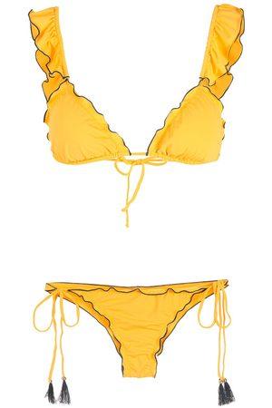 Brigitte Ruffled-trim rippled bikini set