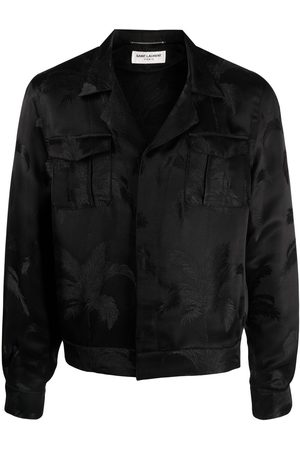 Saint Laurent Palm tree print silk bomber