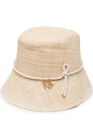 Ruslan Baginskiy Women Hats - Logo-charm straw bucket hat