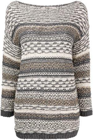 GENTRYPORTOFINO Striped knit boat neck jumper