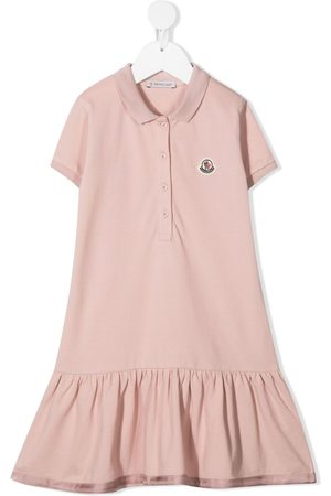 Moncler Polo-collar ruffle-trim dress
