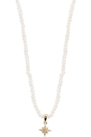 Mizuki 14kt yellow Dancing pearl and diamond star pendant necklace