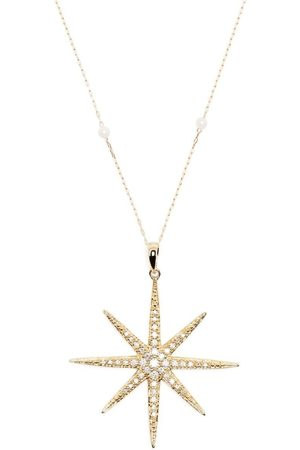 Mizuki Women Necklaces - 14kt yellow star diamond pearl chain necklace