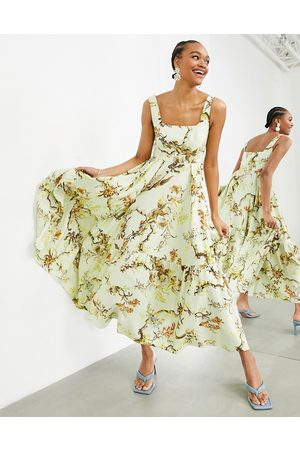 ASOS Sleeveless square neck tiered midi dress in woodland print-Multi