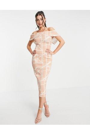 ASOS Fold front pencil midi dress in grid print-Multi