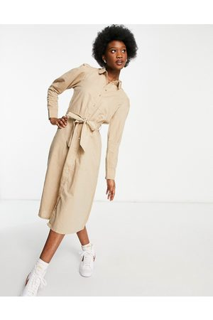 SELECTED Femme linen midi dress with tie waist detail in -Neutral