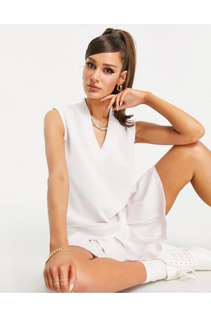 adidas Tennis Luxe' logo V neck pleated dress in pearl