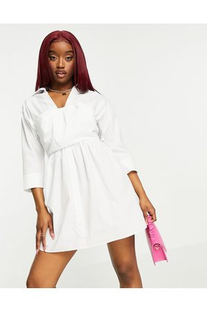 ASOS Cotton 2 in 1 bandeau crop top mini shirt dress in