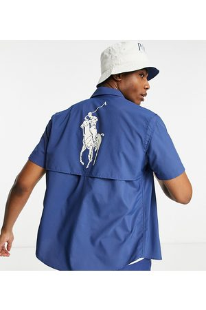 Polo Ralph Lauren X ASOS exclusive collab utility short sleeve overshirt in navy with back print pony logo