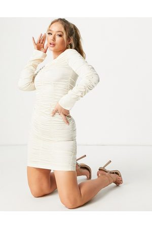 Aria Cove Off shoulder ruched detail mini dress in ivory