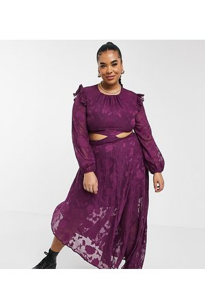Dark Pink Plus Frill shoulder asymmetric hem midi dress in plum