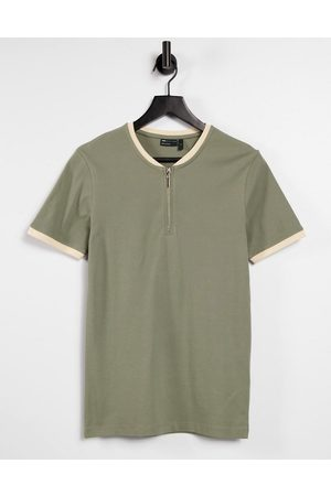 ASOS Muscle fit pique t-shirt with baseball zip collar in khaki