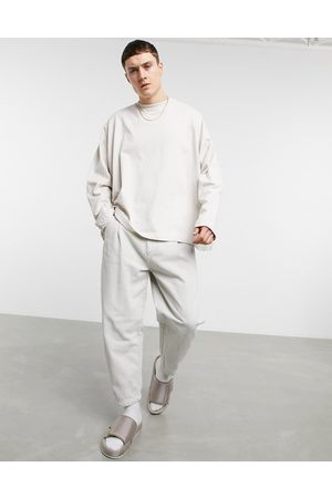 ASOS Oversized long sleeve t-shirt with seam detail in off