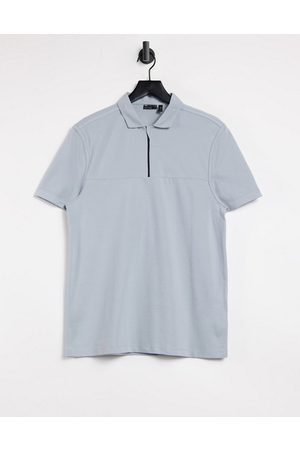 ASOS Cut and sew pique polo with zip in blue