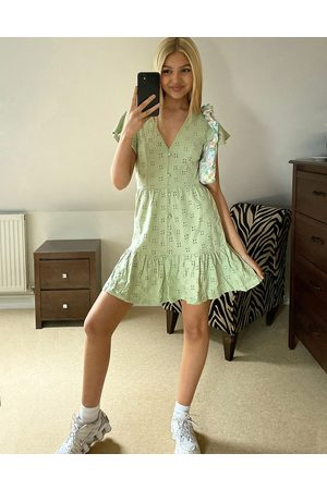 ASOS Broderie v neck button through mini dress with pep hem in sage