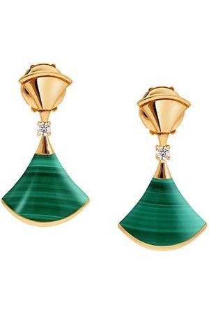 Bvlgari Earrings - Divina 18K Yellow , Malachite & Diamond Drop Earrings