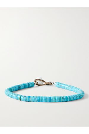 Mikia Men Bracelets - Turquoise and Sterling Silver Beaded Bracelet