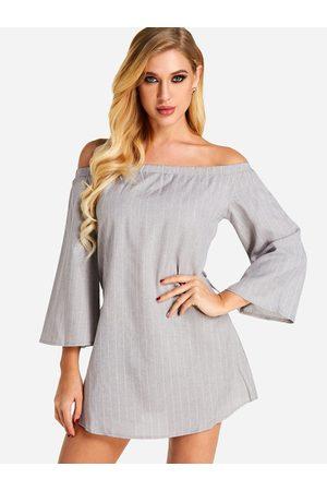 Yoins Sexy Off Shoulder Lace Up Stripe Pattern Mini Dress