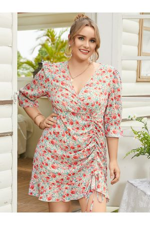 YOINS Plus Size V-neck Calico Drawstring Ruffle Trim Dress