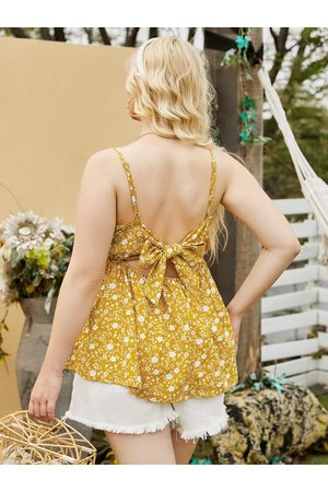YOINS Women Camisoles - Plus Size Spaghetti Backless Design Shirring Cami