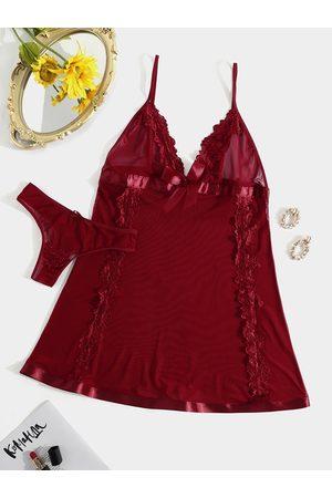 YOINS Burgundy V-neck Bowknot See through design Lace Trim Lingerie set