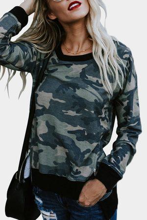 YOINS Camouflage Slit Side Round Neck Long Sleeves Sweatshirt