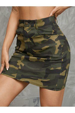 YOINS Camo Side Pockets Mini Skirt
