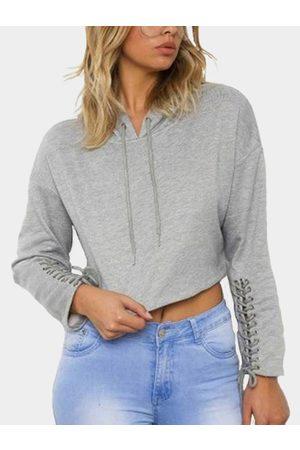 YOINS Hooded Design Long Sleeves Cropped Hoodie