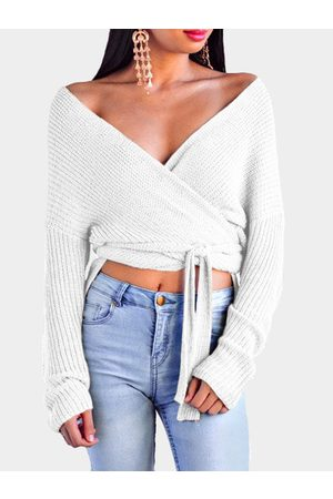 YOINS Self-tie Design Casual Cross Front V-neck Knitting Jumpers