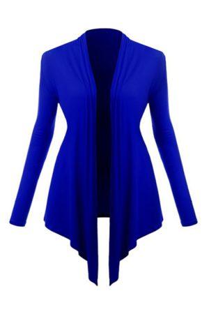 YOINS Navy Blue Long Sleeves Irregular Hem Cardigan