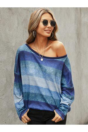 YOINS Color Block Random Stripe One Shoulder Knit Tee