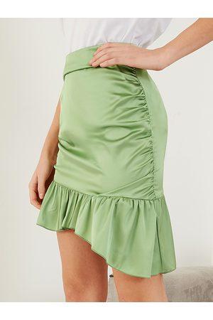 YOINS Women Mini Skirts - Ruched Satin High Waisted Mini Skirt