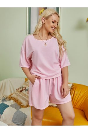 YOINS Women Short Sleeve - Plus Size Crew Neck Short Sleeves Two Piece Outfit