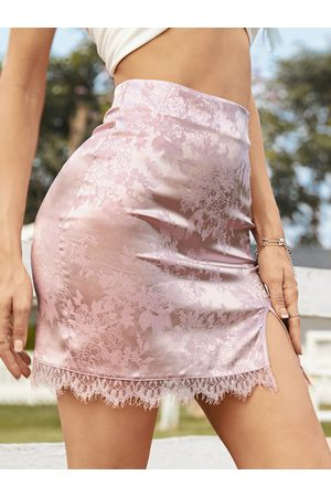 YOINS Jacquard Lace trim High Waisted Mini Skirt
