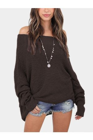 YOINS Off The Shoulder Long Sleeves Loose Plunge Sweaters