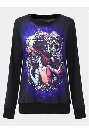 YOINS Active Halloween Print Long Sleeve Sweatshirts in