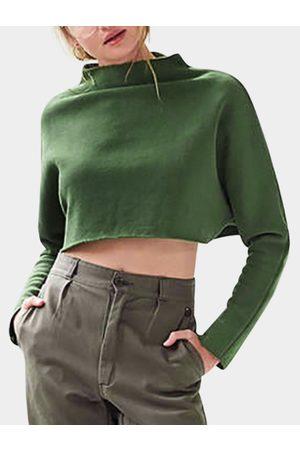 YOINS Women Long Sleeve - Crew Neck Long Sleeves Crop Sweatshirt