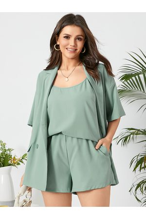 YOINS Plus Size Pocket Design Half Sleeves Three-piece Suit