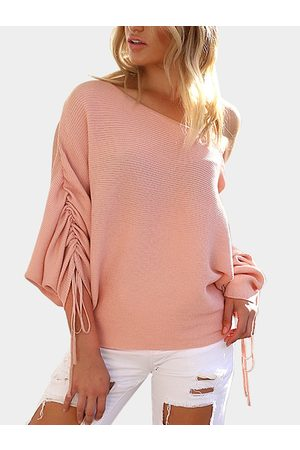 YOINS Light Lace-up Design One Shoulder Long Sleeves Sweaters