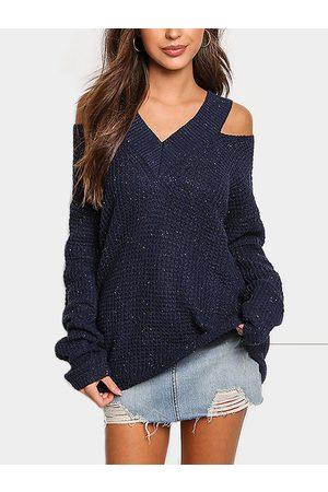 YOINS Cold Shoulder V-neck Long Sleeves Sweater