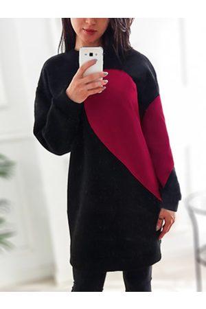 YOINS Heart Printed Round Neck Long Sleeve Sweatshirt Dress