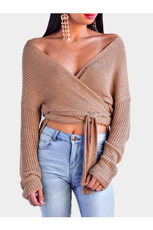 YOINS Coffee Self-tie Design Cross Front V-neck Knitting Jumpers