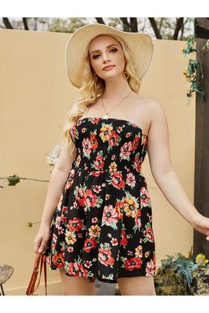 YOINS Plus Size Tube Top Floral Print Sleeveless Playsuit