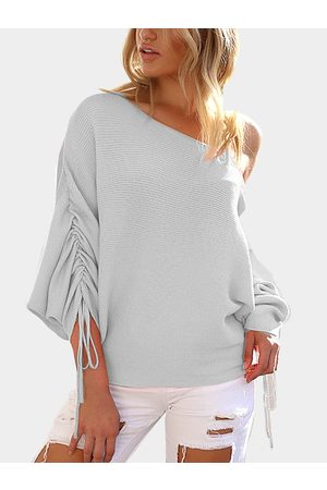 Yoins Women Long Sleeve - Light Lace-up Design One Shoulder Long Sleeves Sweaters