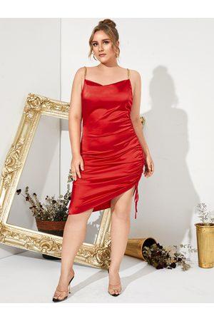 YOINS Plus Size Spaghetti Drawstring Backless Design Sleeveless Midi Dress