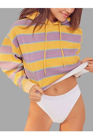 YOINS Stripe Pattern Round Neck Long Sleeves Crop Hoodie